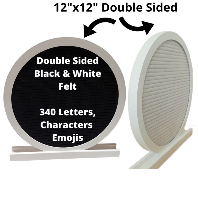 12x12 Double Sided Reversible Round Circle Felt Letter Board|White Oak Frame Letterboards |Grey Black White Felt Letter Board with 340 White Letters, Characters, Emojis|Felt Message Board|12x12 Felt Sign - Laura Baby and Company