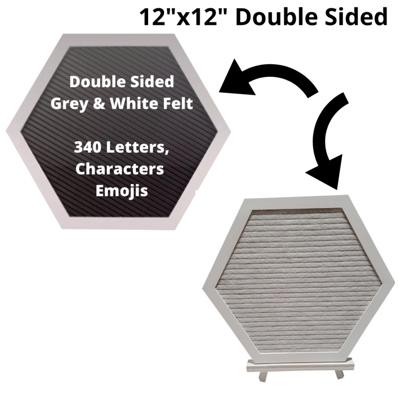 12x12 Double Sided Reversible Hexagon Sexangle Felt Letterboards |White Oak Frame Letter Board|Grey Black White Felt Letter Board with 340 White Letters, Characters, Emojis|Felt Message Board|12x12 Felt Sign - Laura Baby and Company