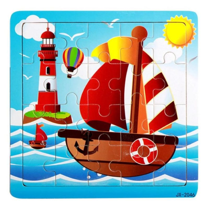 New Happy Cartoon Traffic Tools Wooden Puzzle Toys For Children Kids Intelligence Educational Toy Toys Wood Puzzles - Laura Baby and Company