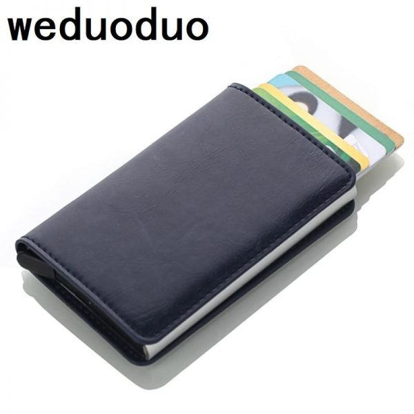 Weduoduo 2019 Men And Women Credit Card Holder RFID Aluminium Business Card Holder Crazy Horse PU Leather Travel Card Wallet - Laura Baby and Company