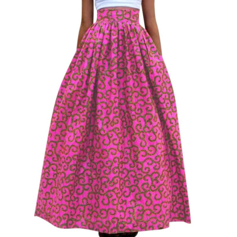 Novarena 2019 Women African Printed Womens Casual Maxi Skirt Flared Pleated Floral Maxi Dashiki Long Skirts Multi Plus Size A Line High Waist Ball Gown (XS-XL) - Laura Baby and Company